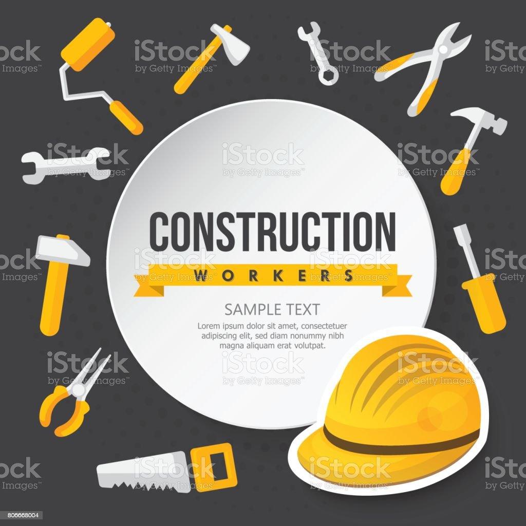 ilustração de trabalhador da construção civil capacete chave de