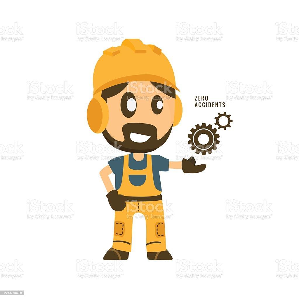 Bau Arbeiter Halten Sie keine Unfälle in Gang. – Vektorgrafik