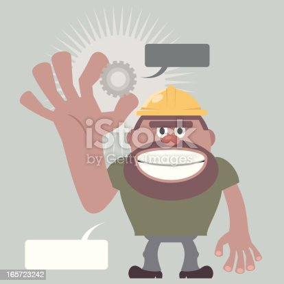 istock Construction Worker holding a gear 165723242
