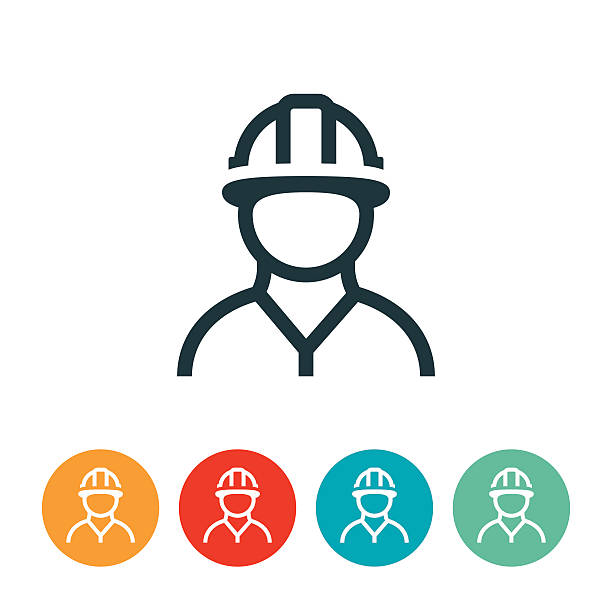 Trabajador de la construcción icono - ilustración de arte vectorial