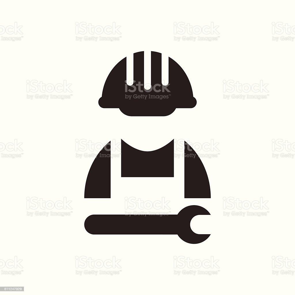 Construction worker icon vector art illustration