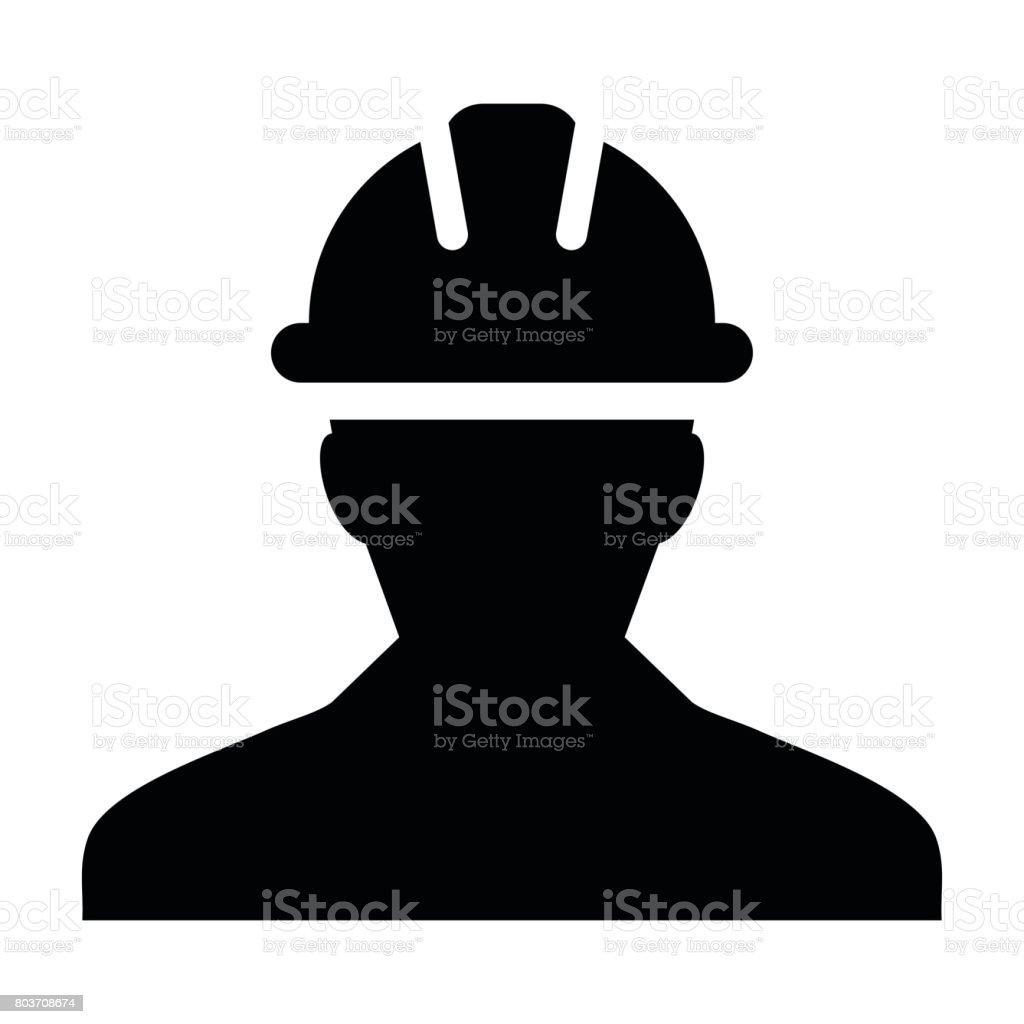 Construction Worker Icon - Vector Person Profile Avatar Pictogram vector art illustration