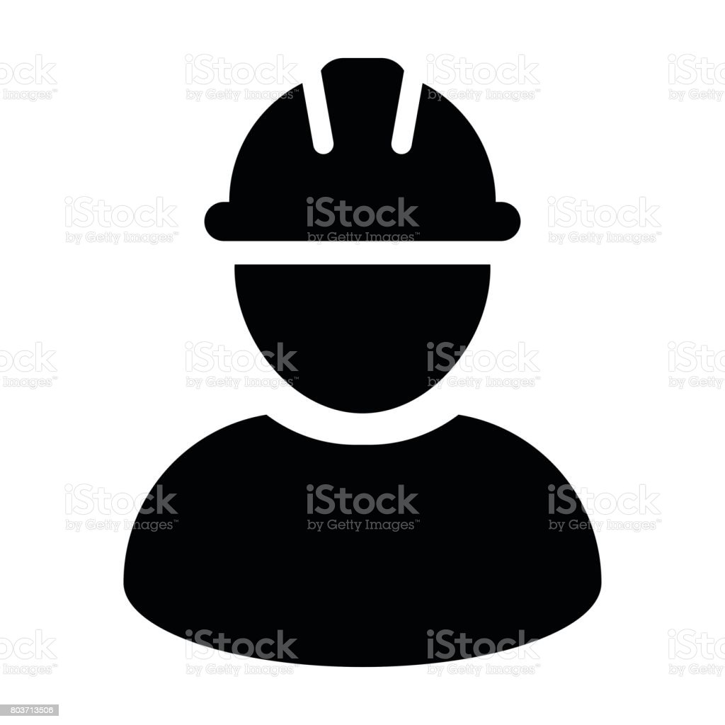 Construction Worker Icon - Vektor Person Profil Avatar Piktogramm – Vektorgrafik