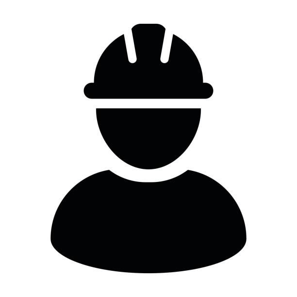 illustrations, cliparts, dessins animés et icônes de construction worker icon - vecteur personne profil avatar pictogramme - infographie industrie manufacture production