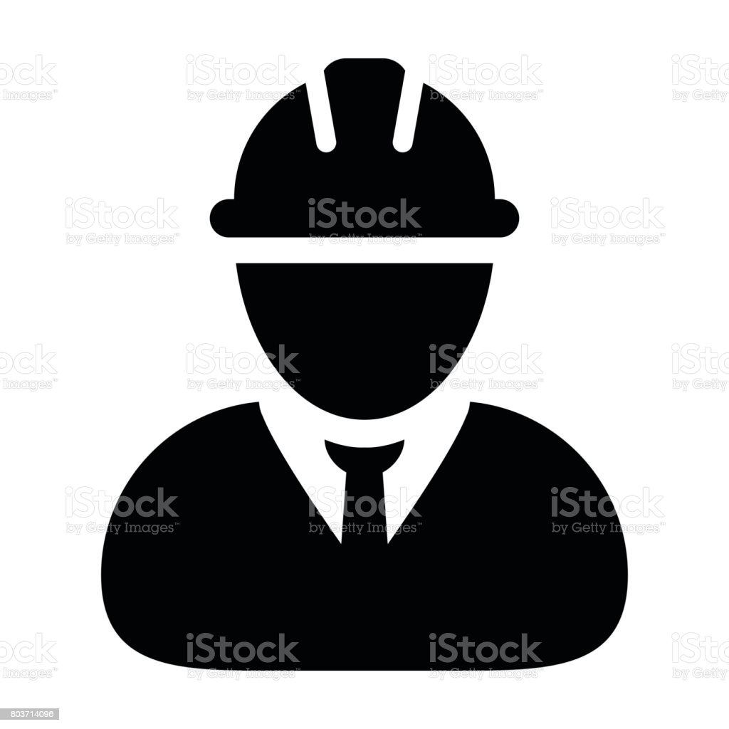 Construction Worker Icon - Vector Person Profile Avatar Pictogram vector art illustration