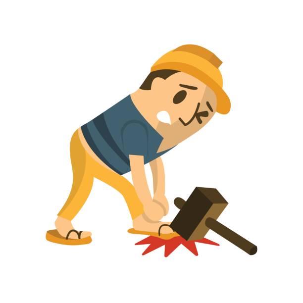 bauarbeiter in eine accident.safety erste, gesundheit und sicherheit, vektor illustrator. - fallrohr stock-grafiken, -clipart, -cartoons und -symbole