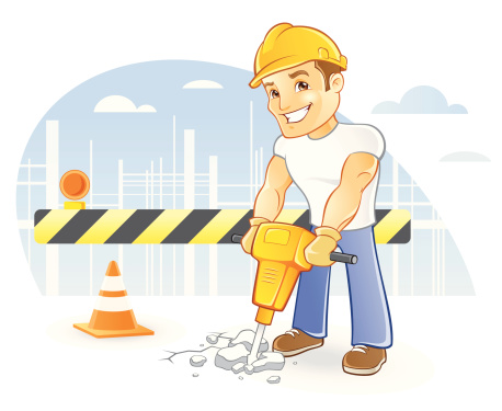 Construction Worker in Hardhat with Jackhammer