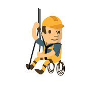 construction worker in safety protective equipment, health and safety, safety first, vector illustrator
