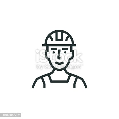 istock Construction Worker Line Icon 1302487702