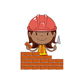 Construction worker, little girl building wall