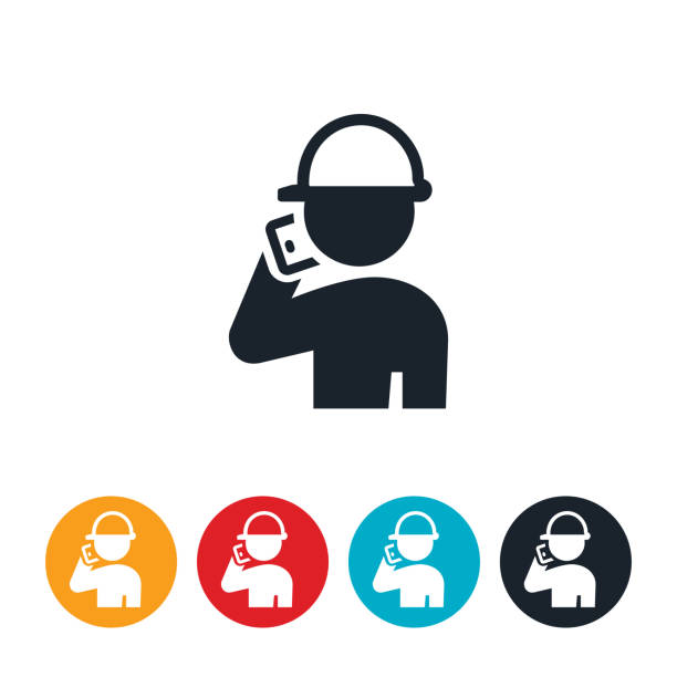 Construction Worker On Phone Icon vector art illustration
