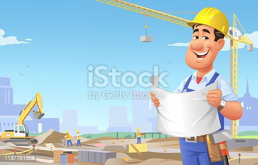 istock Construction Worker Overseeing Site 1137751558