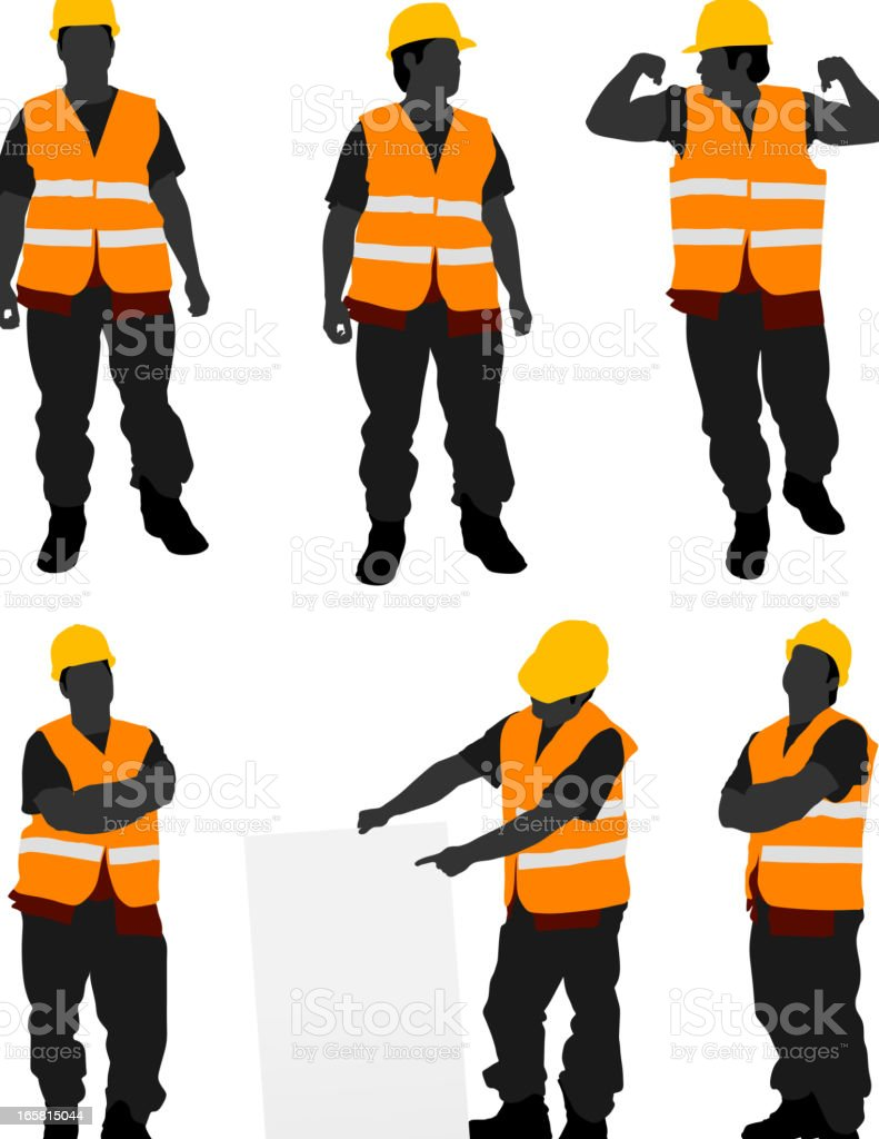 Construction Worker Posing vector art illustration