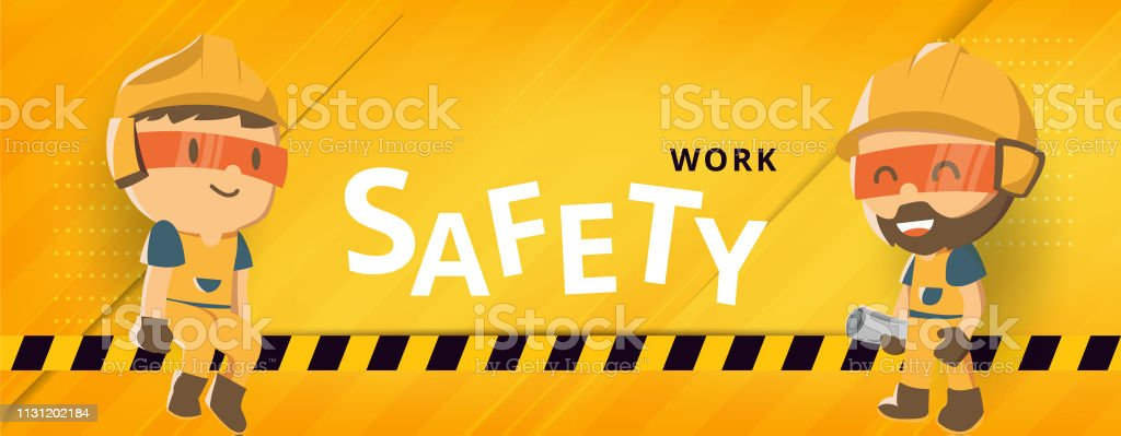 Construction worker repairman banner, safety first, health and...