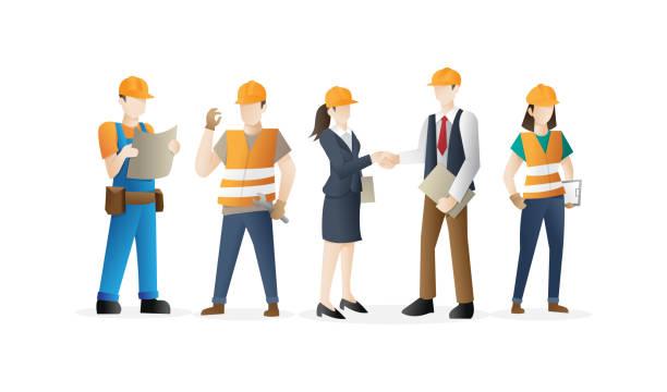 ilustraciones, imágenes clip art, dibujos animados e iconos de stock de equipo de trabajadores de construcción - obrero de la construcción