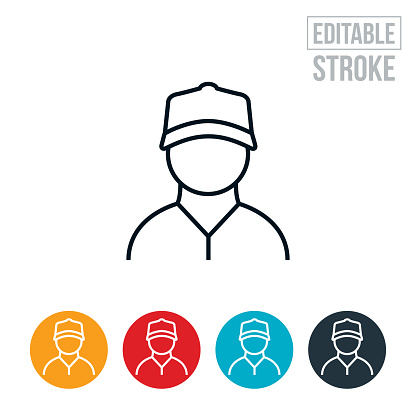 Construction Worker Thin Line Icon - Editable Stroke