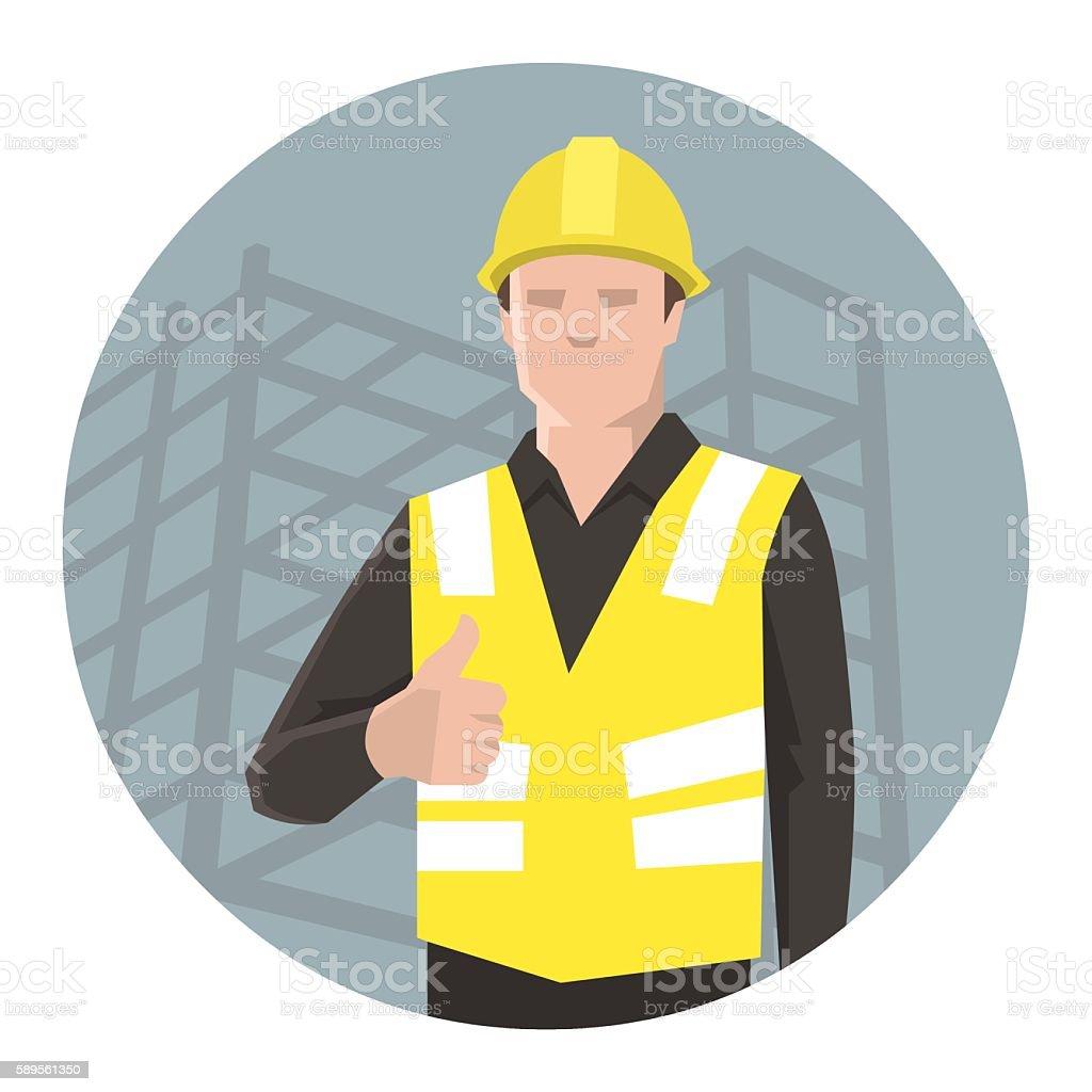 Construction worker thumbs up vector art illustration