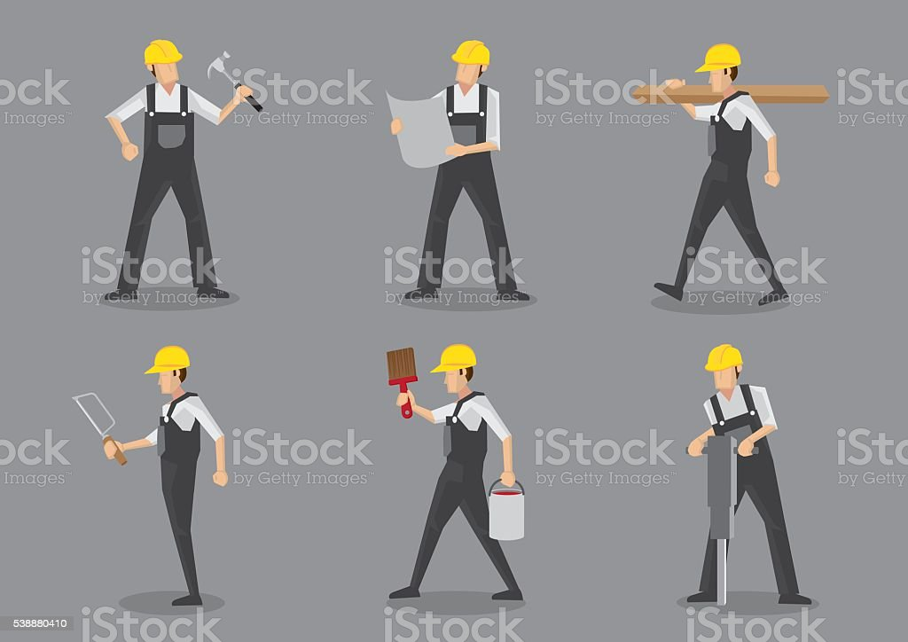 Construction Worker Vector Character Sheet vector art illustration