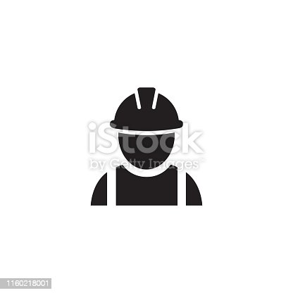 Construction worker vector icon on white