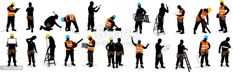 Construction Worker silhouette isolate on white