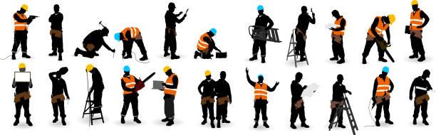 pracownik budowlany - kask ochronny odzież ochronna stock illustrations
