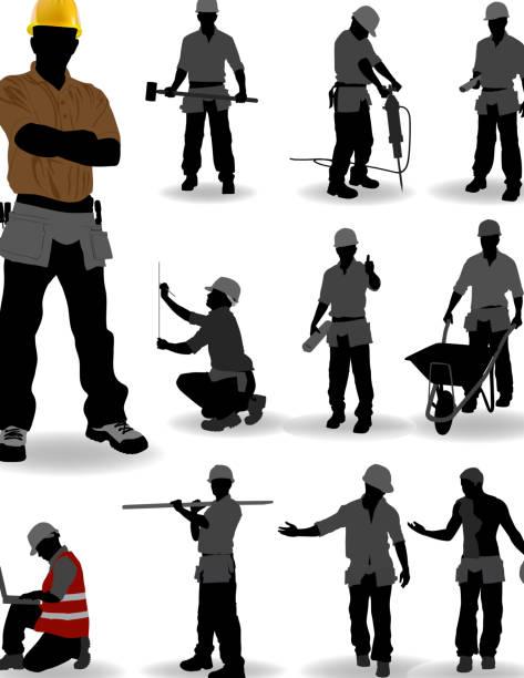 ilustraciones, imágenes clip art, dibujos animados e iconos de stock de trabajador de construcción - obrero de la construcción