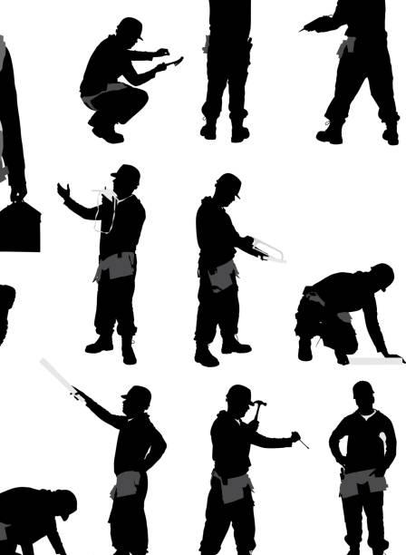 bauarbeiter. - bauarbeiter stock-grafiken, -clipart, -cartoons und -symbole