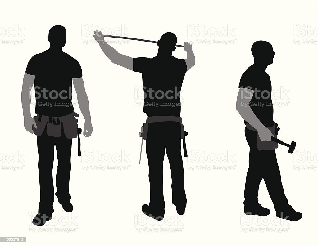 Construction Worker Vector Silhouette royalty-free stock vector art