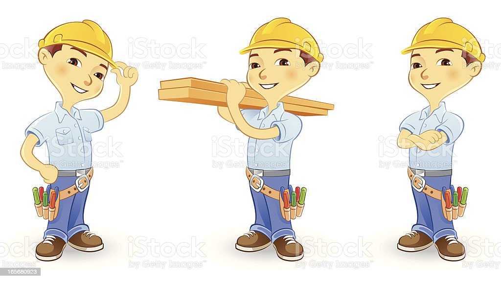 Construction Worker wearing hard hat and tool belt royalty-free stock vector art