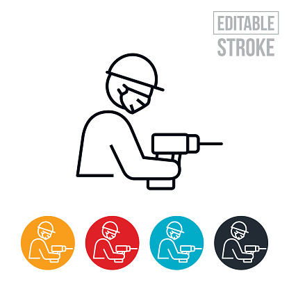 Construction Worker With Drill Wearing Face Mask Thin Line Icon - Editable Stroke