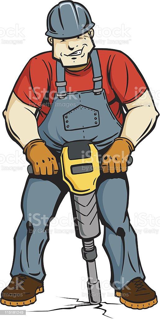 Construction Worker With Jackhammer vector art illustration