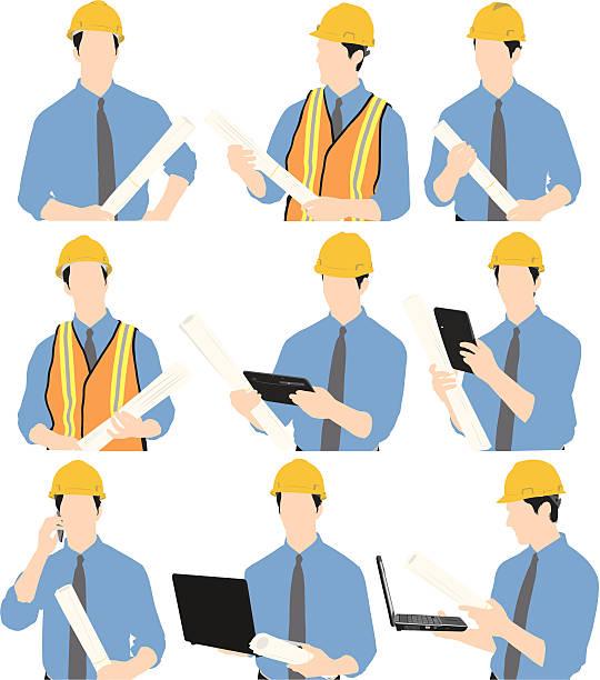 建設作業員、ノートパソコンや設計図 - 建設作業員点のイラスト素材/クリップアート素材/マンガ素材/アイコン素材