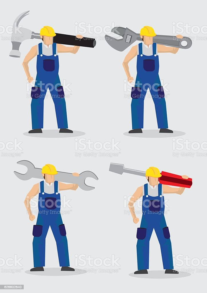Construction Worker with Large Tools Vector Illustration vector art illustration