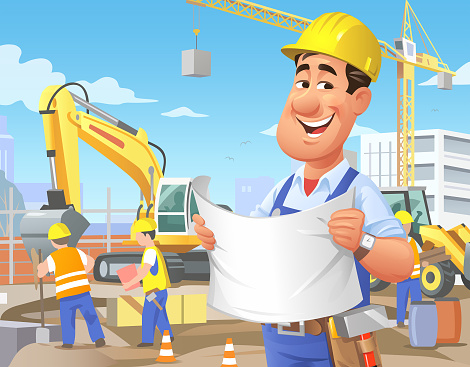 Construction Worker With Plan Overseeing Site