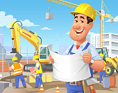 Vector illustration of a happy construction worker or engineer watching a plan in front of a construction site. In the background are construction vehicles, a crane, other workers and a city skyline under a cloudy, blue sky.