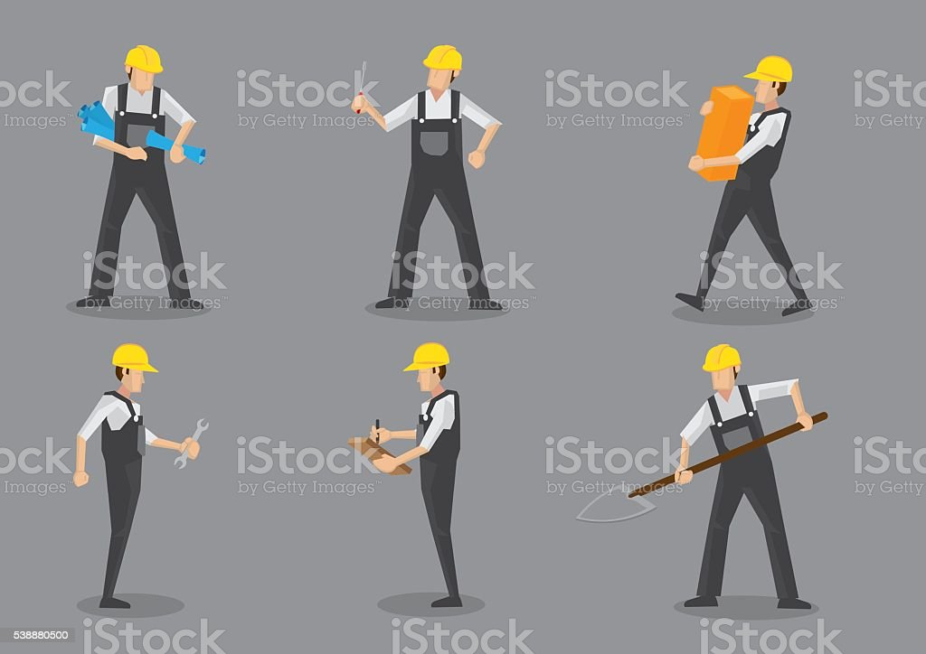 Construction Worker Working With Tools vector art illustration