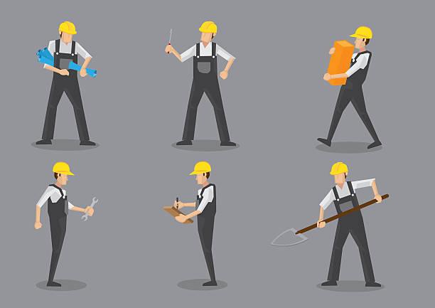 ilustraciones, imágenes clip art, dibujos animados e iconos de stock de trabajador de la construcción con herramientas de trabajo - obrero de la construcción