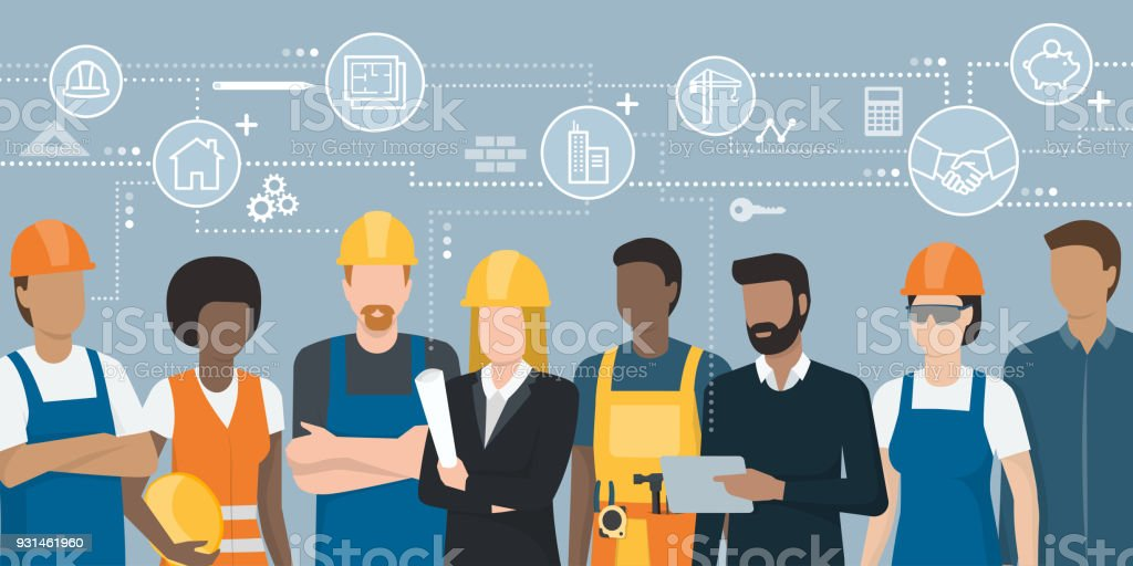 Construction workers and engineers team vector art illustration