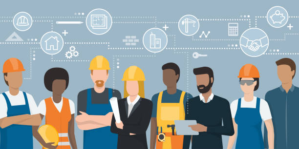 ilustraciones, imágenes clip art, dibujos animados e iconos de stock de equipo de ingenieros y trabajadores de la construcción - obrero de la construcción