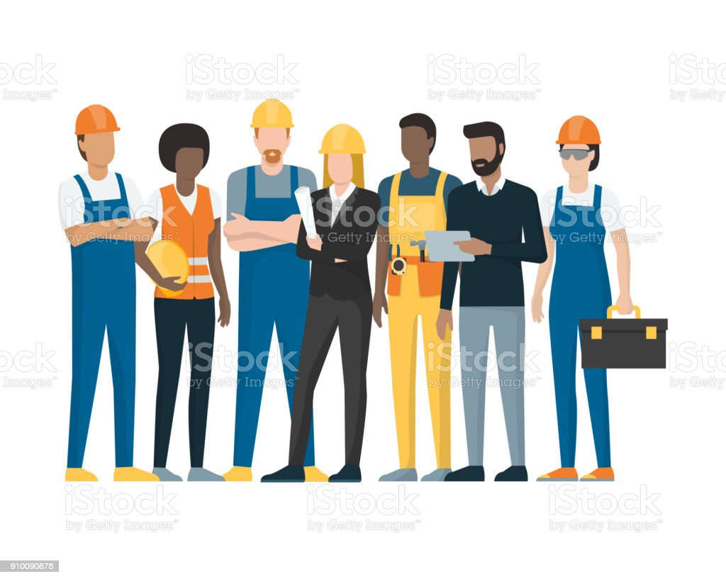 Construction workers and engineers royalty-free construction workers and engineers stock illustration - download image now