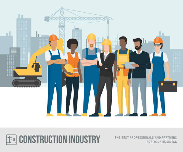 construction workers and engineers - construction worker stock illustrations