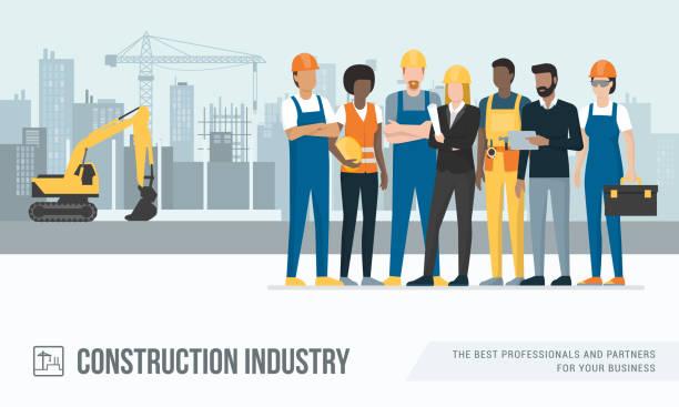 budowlańcy i inżynierowie - kask ochronny odzież ochronna stock illustrations