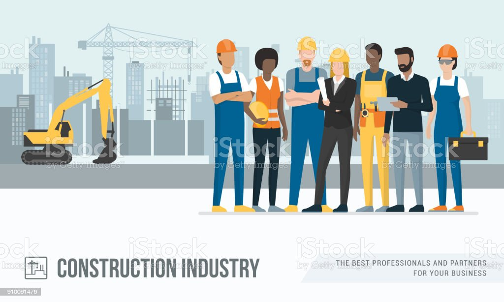Construction workers and engineers vector art illustration
