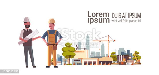 construction workers architect and builder team over city construction site tower cranes building residential buildings cityscape background flat horizontal full length copy space vector illustration