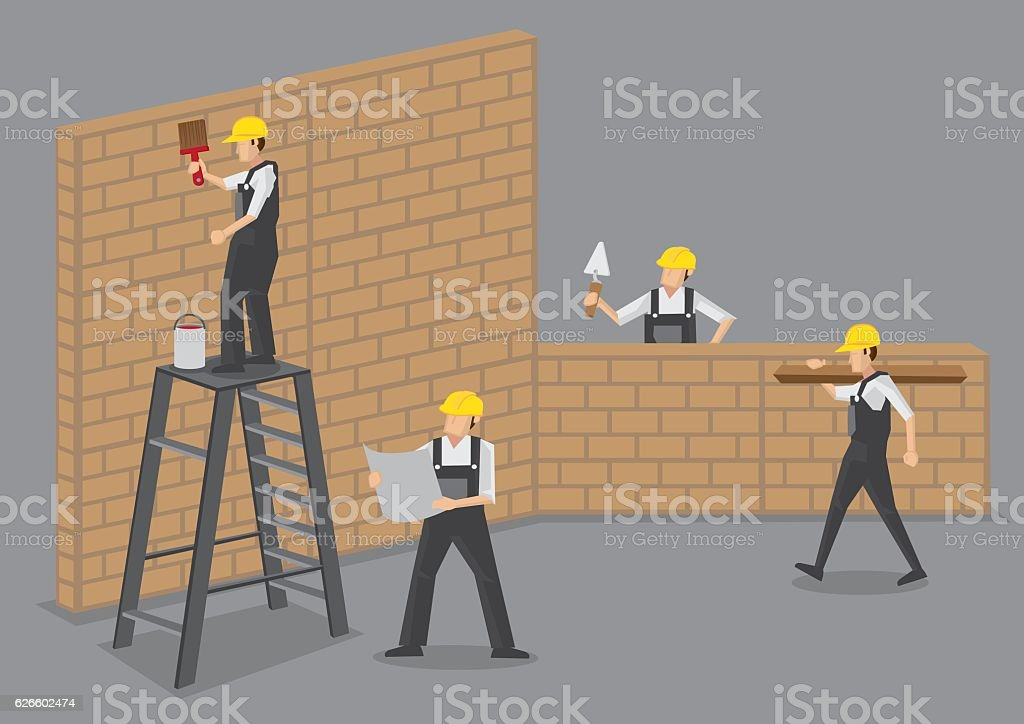 Construction Workers at Work Vector Illustration – Vektorgrafik