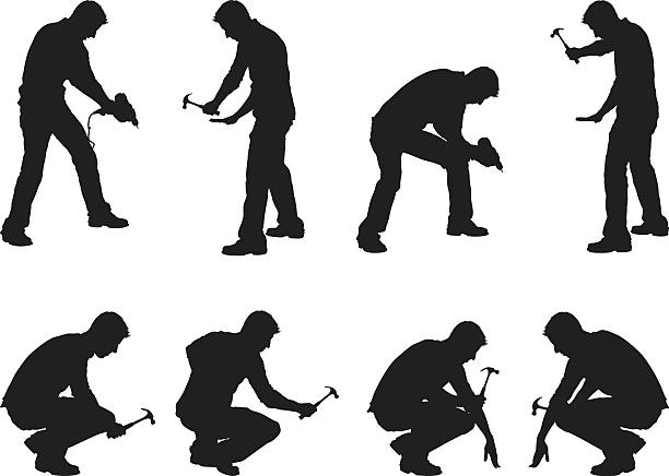 Construction workers drilling and hammering vector art illustration