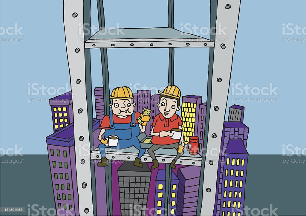 Construction workers have lunch break on skyscraper royalty-free construction workers have lunch break on skyscraper stock vector art & more images of adult