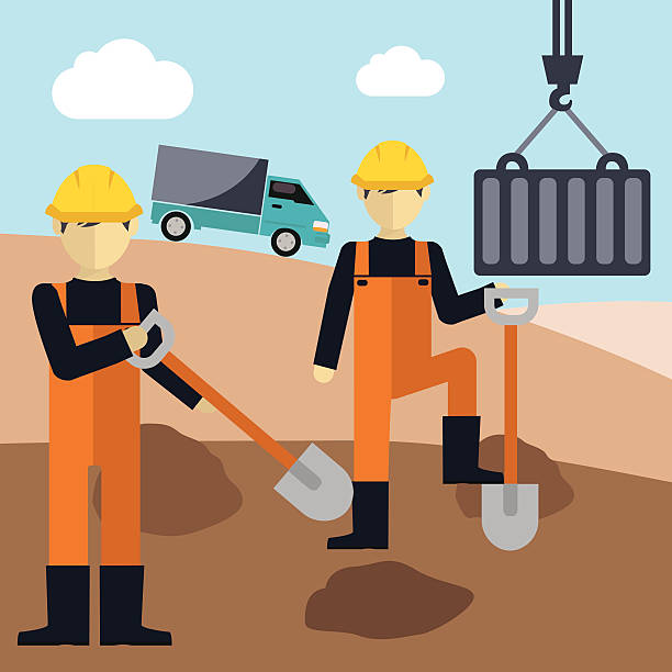Construction workers  holding a shovel Construction worker holding a shovel civil servant stock illustrations