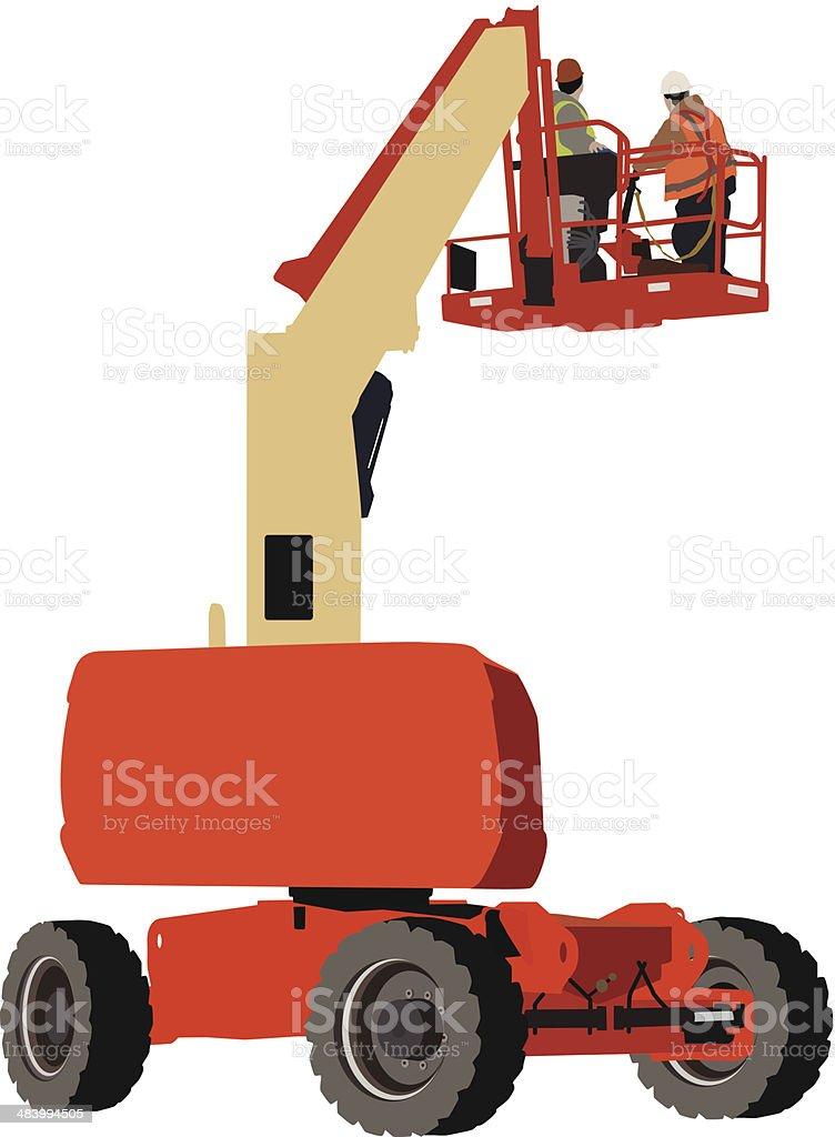 Construction workers in a crane royalty-free stock vector art