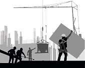 A vector silhouette illustration of construction workers working at a job site.  A man moves a piece of sheetrock, while others lay a pipe and direct a crane.